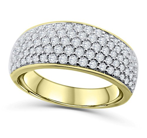 14K Yellow Gold Mens Wedding Band Ring Extra Wide 10mm 1.50ctw Diamonds Round Domed Ring for (Extra Wide Band Ring)