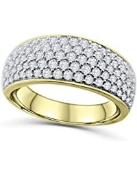 14K Gold Or White Mens Wedding Band Ring Extra Wide 10mm 150ctw Diamonds Round