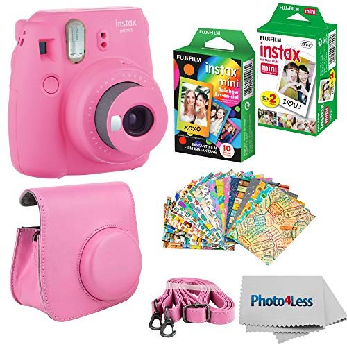 Fujifilm Instax mini 9 Instant Film Camera (Flamingo Pink) – Fujifilm Instax Mini Instant Film, Twin Pack – Fujifilm Instax Mini Rainbow Film – Case for Fuji Mini Camera – Fuji Instax Accessory Bundle