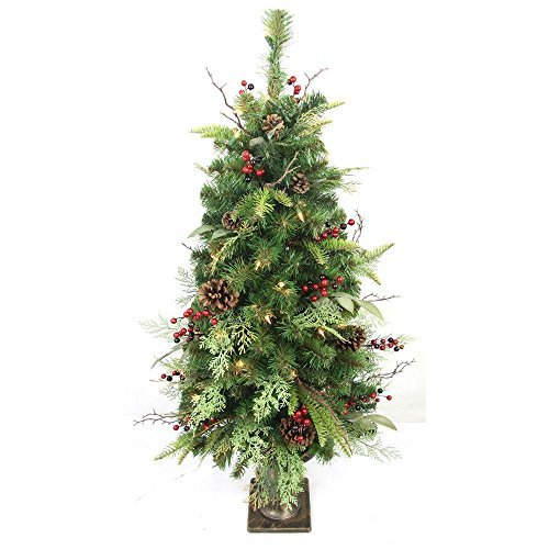 4 ft. Pre-Lit Woodland Tales Artificial Porch Tree with 50 Clear Lights, Pinecones and Red Berries
