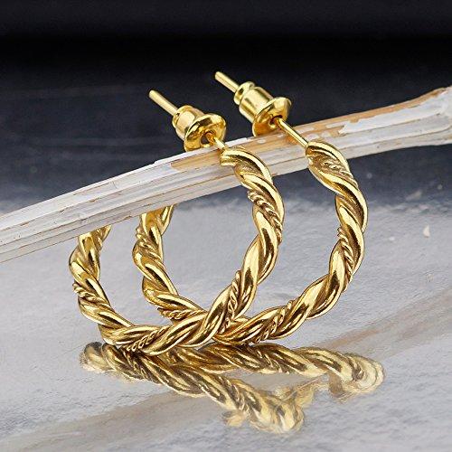 (Omer 925 Fine Silver Large Twisted Hoop Earrings 24k Gold Vermeil Turkish Fine Jewelry)