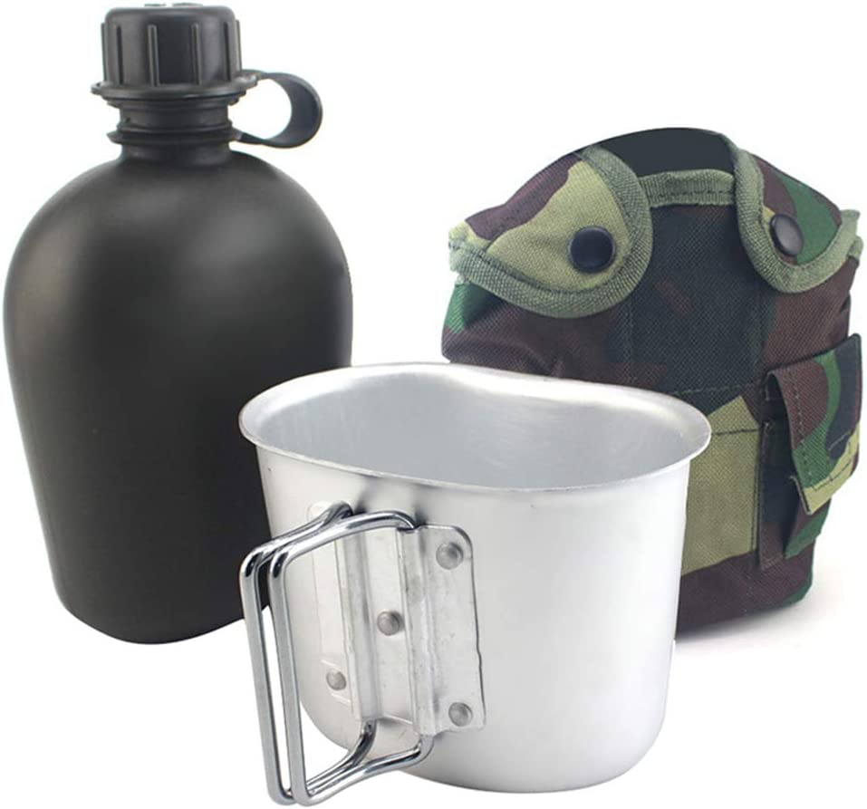WOODLAND CAMO WATER BOTTLE// CANTEEN WITH CUP AND COVER