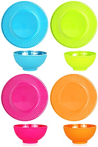 Set of 8 Melamine Plates and Bowls - Perfect for Meals for Young Children - Lightweight - Dishwasher Safe - Features Colors Such as Pink, Blue, Green, and Orange - Perfect for Playtime!