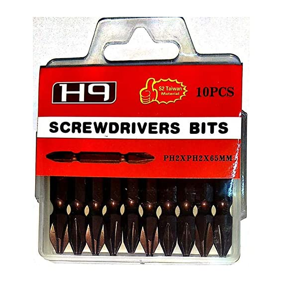H9 1/4 Hex Double Ended Magnetic Screwdriver Bit Ph2 Bits in Bronze Finish S2 Taiwan For Industrial & Home Use in Screw