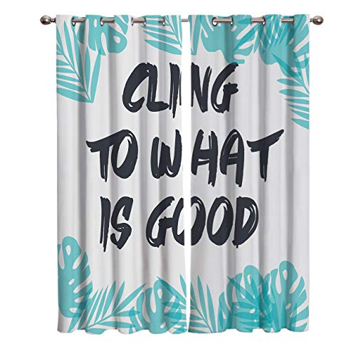 "T&H Home Draperies & Curtains, English Saying: Cling to What is Good Window Curtain, 2 Panel Curtains for Sliding Glass Door Bedroom Living Room, 80"" W by 84"" L"