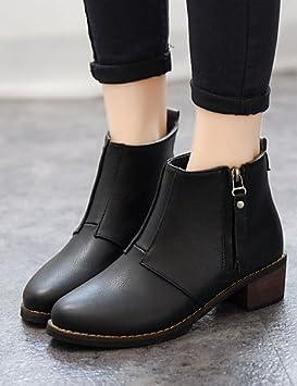 Ch & Ch Zapatos de mujer – Tacón Punta Redonda Botas Vestido/Casual negro/