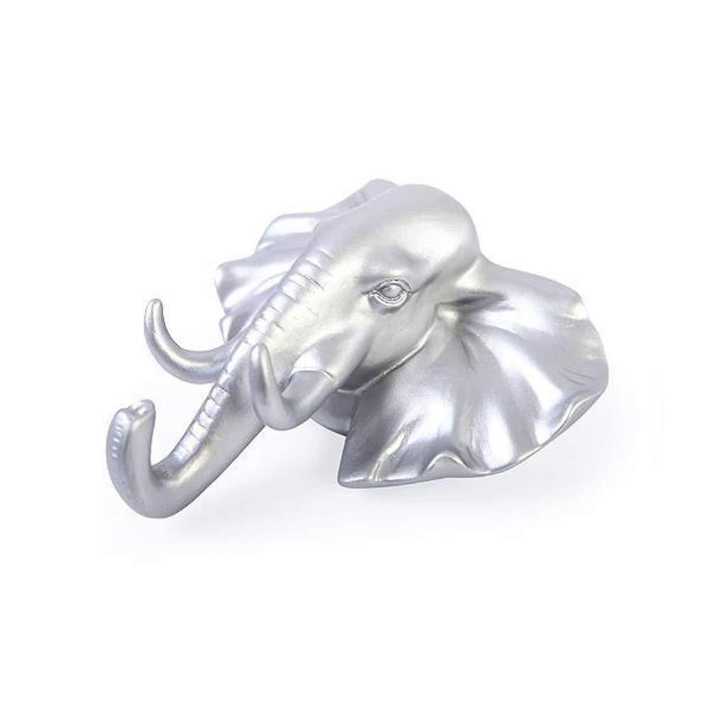 HANANei Sticky Holder, Lovely Elephant Head Self Adhesive Wall Door Hook Hanger Bag Keys for Home, Office, Closet Storage (Silver) by HANANei (Image #2)