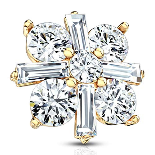(Fifth Cue 14G Princess Cut CZ Crossed CZ Square 316L Surgical Steel Internally Threaded Dermal Anchor Top (Gold/Clear))