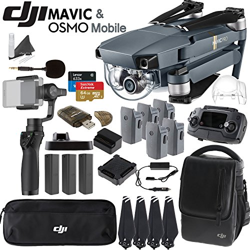 DJI-Mavic-Pro-Collapsible-Quadcopter-Osmo-Mobile-Combo-Includes-3-Osmo-Batteries-DJI-Shoulder-Bag-5-Mavic-Batteries-Car-Charger-Charging-Hub-Spare-Propellers-SanDisk-64GB-Card-and-more