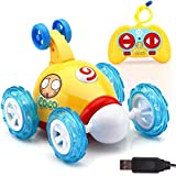 Nibito RC Rolling Cartoon Stunt Race Car 360 Degree Spinning LED Flash Music for Kids (Yellow)
