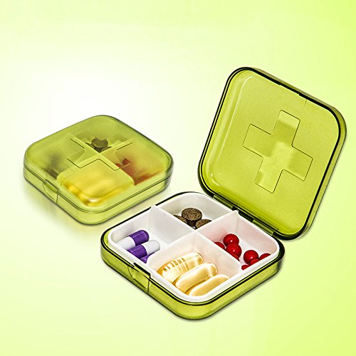 Molyveva Mini Portable Travel Pill Organizer with Moisture-Proof Design and 4 Compartments to Hold Vitamins, Supplements and Medication (Green)
