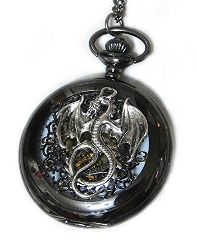 Watch Necklace Pendant - Steampunk Vintage Victorian Style Retro Pocketwatch Dragon charms ()