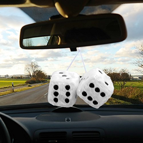 White Couple Fuzzy Dice,Car Hanging Accessory Ornaments Nostalgic Retro Auto Mirror Black and White Plush Dice 1 Pair