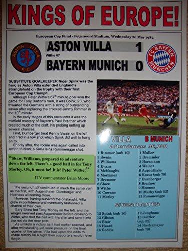 Aston Villa 1 Bayern Munich 0 - 1982 European Cup final - souvenir print