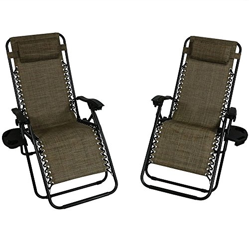 Sunnydaze Dark Brown Oversized Zero Gravity Lounge Chair with Pillow and Cup Holder, Set of Two by Sunnydaze Decor