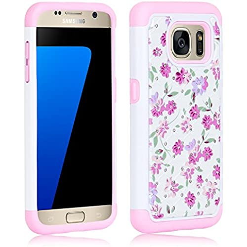 S7 Case, Galaxy S7 Case, Zenic(TM) Shockproof Flower Pattern Studded Rhinestone Bling 2in1 Hybrid Dual Layer Armor Sales