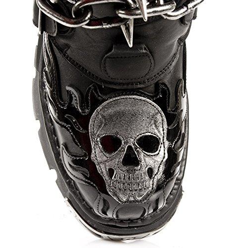 Stivali di Reactor Della Fiamma del Cranio Nero di Uomini Della Nuova Roccia M.727-S1