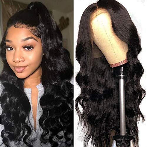 Beauty Forever Wigs Brazilian Virgin Body Wave 13x4 Lace Front Wig 100% Human Hair Wig for Black Women Pre Plucked with Baby Hair Natural Black 150% Density (18, 13x4 Front density 150%)