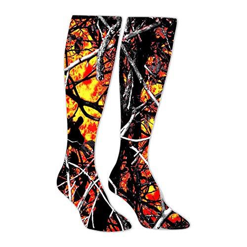 Wildfire Lifestyle Camo Red Athletic Socks Knee High Socks Tube Long Stockings