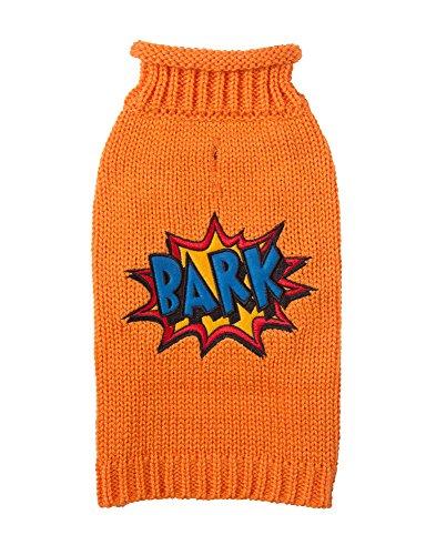 Fab Dog Rollneck Knit Dog Sweater Bark Comic, Orange, 8″ Length