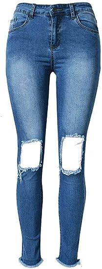 Laisla fashion Women Jeans Pants Skinny Skinny Jeans Pencil Pants Trousers Denim Skinny Rise Ripped Hole Pencil Destroyed Pants