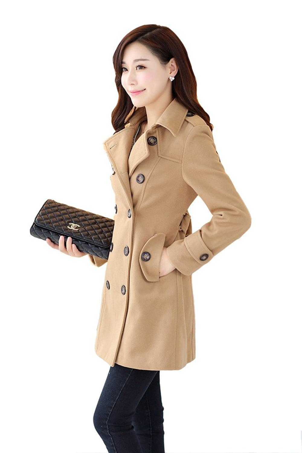 JUSTINCITY Womens Long Double-Breasted Stand Collar Hooded Wool Coat Solid Color Slimming Woollen Coat