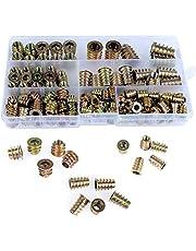 QLOUNI 130 stuks inschroefmoffen indraaimof met afdekrand zinklegering schroefdraadinzetstuk moeren assortiment M4 M5 M6 M8 M10 moeren assortiment voor houten meubels