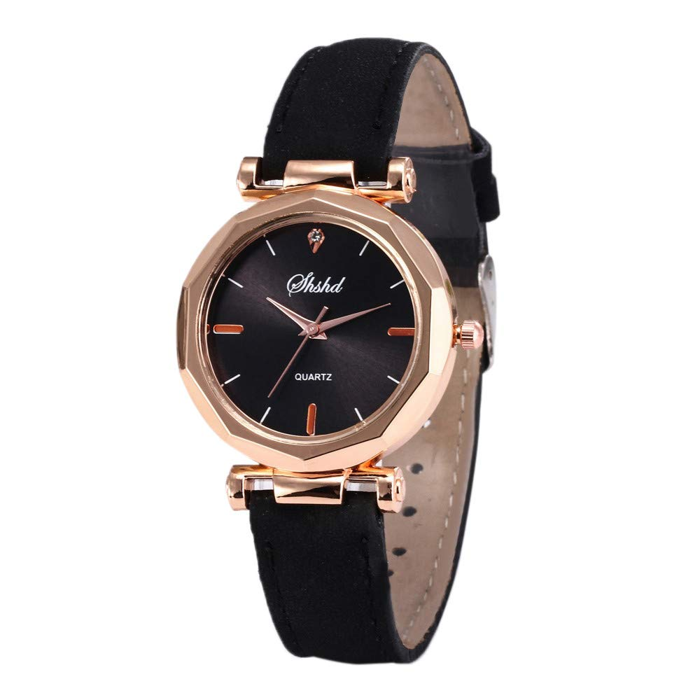 Starry Sky Watch for Women, Crystal Dial Analog Quartz Wristwtach with Suede Pu Leather Band BravetoshopSH109(Black)