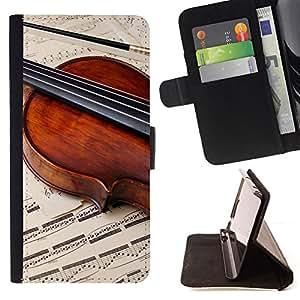 For Samsung Galaxy Core Prime - Music Violin Retro /Funda de piel cubierta de la carpeta Foilo con cierre magn???¡¯????tico/ - Super Marley Shop -