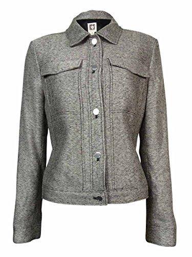 Denim And Tweed Jacket - Anne Klein Women's Tweed Jacket, Black/White Multi, 2