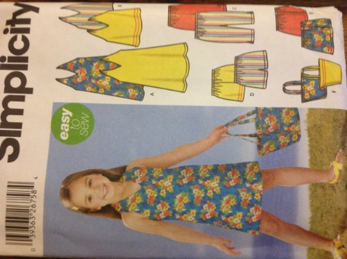 Simplicity 5531 Sewing Pattern for Girls Summer Wardrobe, Halter Sundress Top Capris Shorts Skirt Tote Bag Easy to Sew Girls Sizes 3-4-5-6-7-8