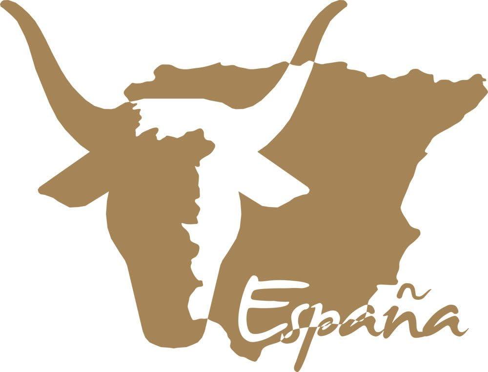 Graz Design Adhesivo para salón pared Mapa de España con Toro y texto, 081 marrón claro, 75 x 57 cm: Amazon.es: Hogar