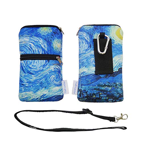 Tainada Men Women Mobile Phone Neoprene Shockproof Two Zippered Sleeve Case Bag Pouch with Carabiner, Neck...