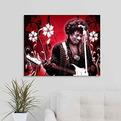 Gallery-Wrapped Canvas entitled Jimi Hendrix Red Floral by Great BIG Canvas 30''x24''