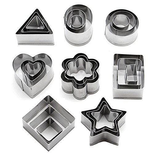 AUTIDEFY Cookie Cutters Set - Metal Stainless Steel Mini Geometric Shapes Dessert Pastry Cutters,for Kitchen,Baking,Halloween& Christmas,Set of 24 - Star Dough Cutter