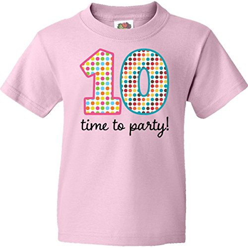 Inktastic Big Girls' 10th Birthday Party Youth T-Shirt Youth Large (14-16) Light Pink