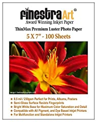 Finestra Art ThinMax Premium Luster Inkjet Photo Paper is a premium grade semi-gloss photo surface that you're sure to love. It is 2 mil thinner than our standard Premium Luster and is great for those who want a gorgeous print that is not qui...
