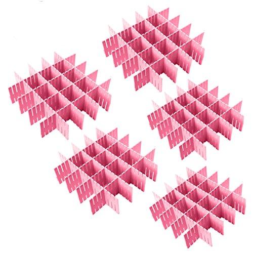 NewFerU Plastic Desk DIY Grid Drawer Dividers Adjustable Tidy Closet Shelf Storage Organizers for Purses,Ties,Tshirts,Pens,Bras,Sock,Underwear,Scarves,Makeup,Kitchen Cutlery Flatware (40pcs-Pink)