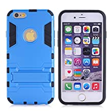 Cuitan 2 in 1 Dual Layer Hybrid Case for iPhone 5S / 5 / 5G, TPU Soft Bumper and PC Hard Back Cover Built-in Kickstand Design Armor Rugged Defender Protective Shell Cover Protection Sleeve with Stylus (Random Color) for Apple iPhone 5S / 5 / 5G - Blue