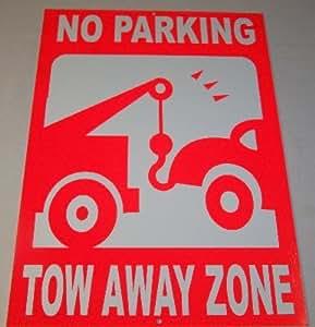 "No Parking Tow Away zona 12""x18"" rojo reflectante Sign"