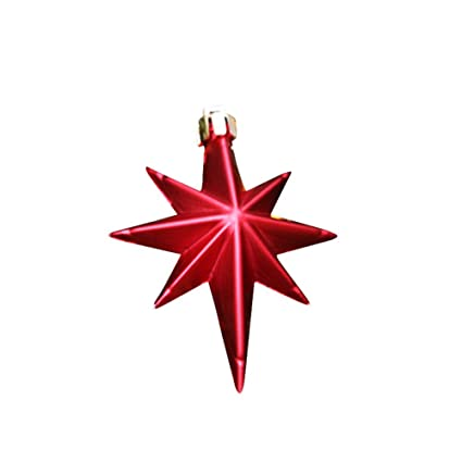 remeehi barrelled mini hanging christmas stars decorations xmas tree ornaments 9pcs red eight pointed star - Christmas Star Decorations