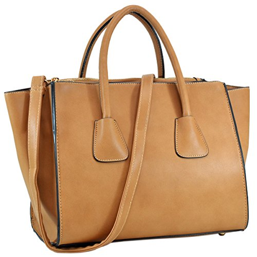 Camel Hobo (Dasein Faux Leather Winged Satchel Tote Shoulder Bag Handbag with Double Zipper Pockets - New Camel)