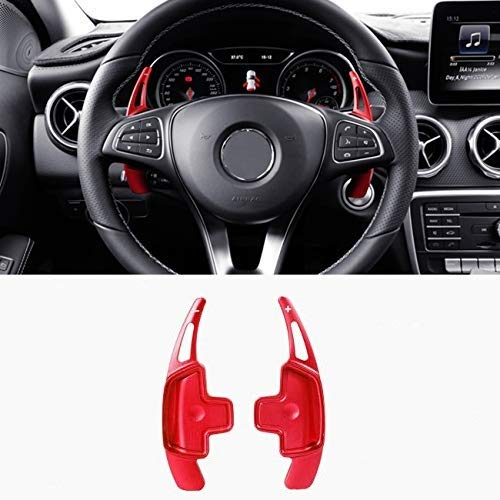 (For Mercedes Benz Paddle Shifter Extensions, Partol Aluminum Metal Car Steering Wheel Shift Blade Paddle Shifter Fit For For Benz A B C CLA CLS E G GL GLA GLC GLE GLS Metris S SL SLC Class (Red))