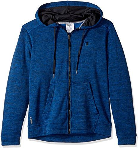 Champion Men's Premium Performance Fleece Full Zip Hoodie, Winter River Teal Heather/Black, 2X-Large (Premium Full Hoodie Zip)