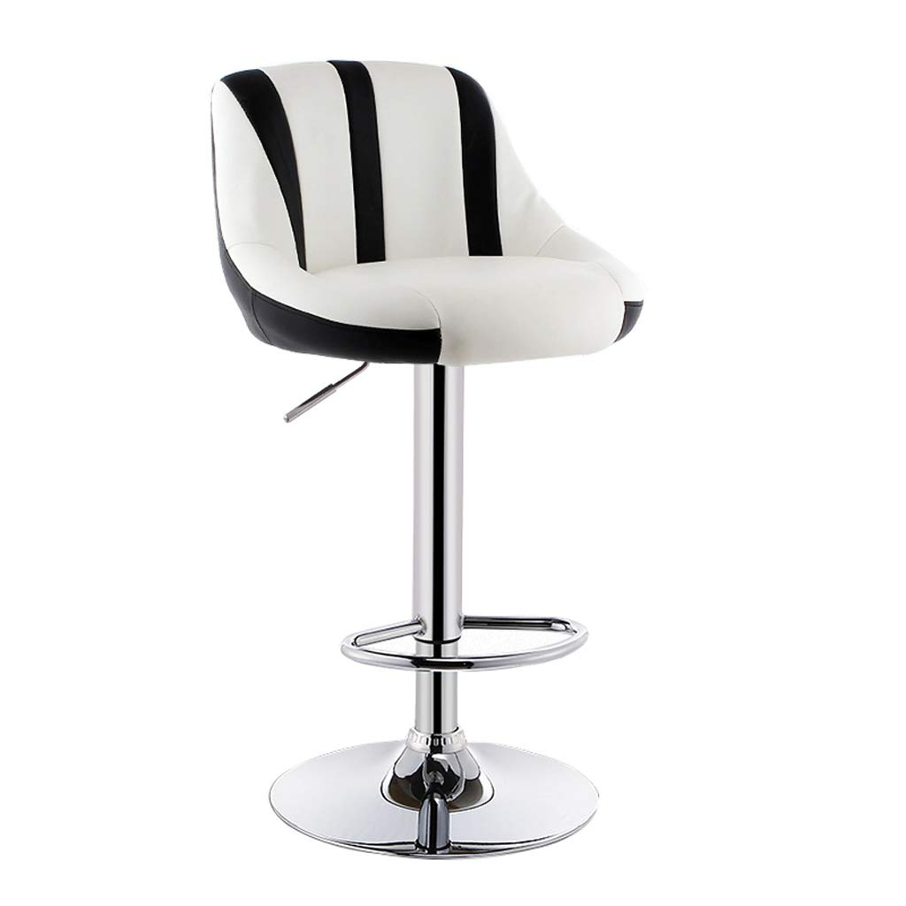 Black + white 3 Lxn Modern Simplicity Adjustable Bar Stools, Swivel Barstool Chairs with Back, Pub Kitchen Counter Height,PU Leather and Chromed Metal Base - 1PCS