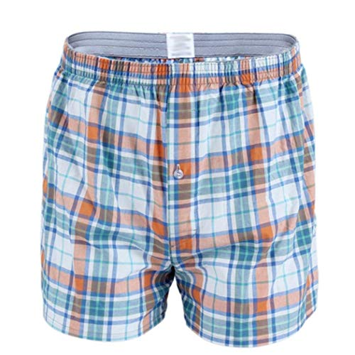 Trunk Waist Mid - Pagacat Men Casual Plaid Print Mid Waist Summer Shorts Swim Trunks Beachwear Flat Front