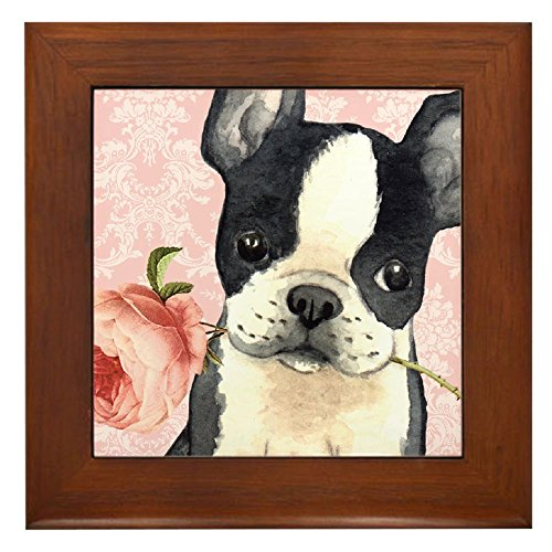 CafePress - Boston Terrier Rose - Framed Tile, Decorative Tile Wall Hanging -
