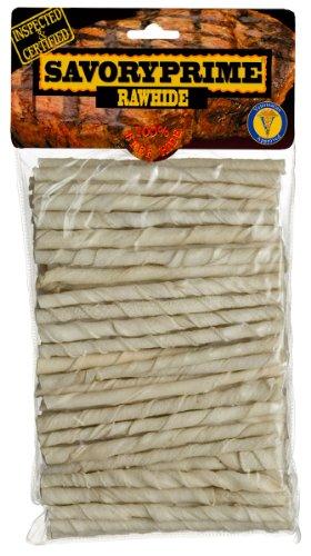 Savory Prime 100 Count 5 inch White Rawhide Twist Sticks  017, My Pet Supplies