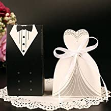 Rbenxia Wholesale Wedding Party Favor Boxes Creative Tuxedo Dress Groom Bridal Candy Gift Box with Ribbon 100pcs (Candy box 1)