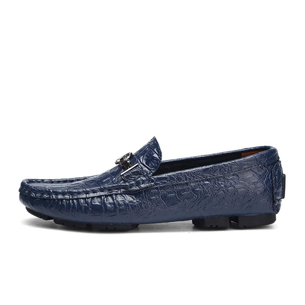 AFCITY Mokassin Gommino Herren Echtleder Niedrig Cut Schuhe (Größe: Komfort Wohnungen Business Schuhe (Größe: Schuhe 24,0 cm 30,0 cm) Schwarz/Blau / Braun Mokassin Gommino Klassischer Stiefelschuh Blau 9e2130